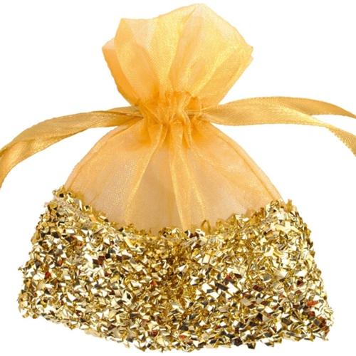 Gastgeschenkeutel zur Hochzeitsdekoration, Organzasäckchen, Gold mit ...
