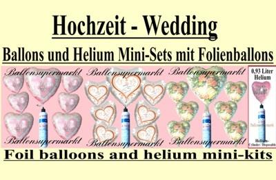 Folien-Luftballons mit der kleinen Helium-Einwegflasche