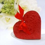 Gastgeschenkbox zur Hochzeitsdekoration, Herz mit Ornamenten, Rot