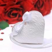 Gastgeschenkbox zur Hochzeitsdekoration, Herz mit Ornamenten, Weiß