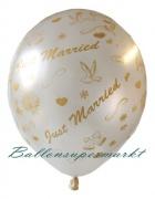 Luftballons zur Hochzeit, Just Married, Weiß, 25 Stück