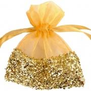 Gastgeschenkeutel zur Hochzeitsdekoration, Organzasäckchen, Gold mit Goldfolie
