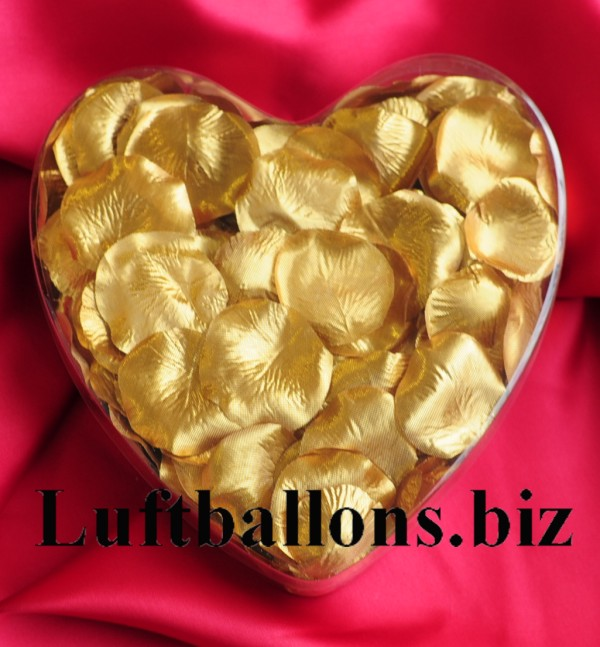 Dekoration zur hochzeit tischdekoration herzbox mit 200 rosenbl tter in gold lu hs hochzeit - Dekoration gold ...