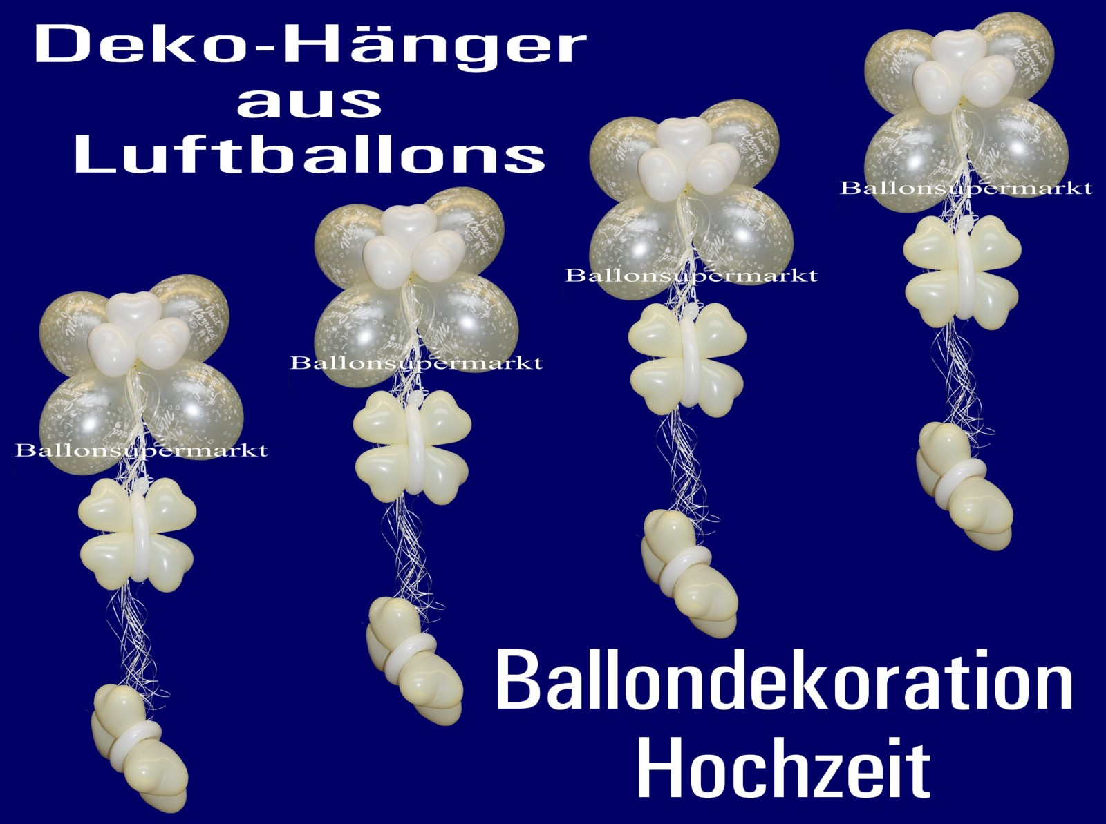 ballondekoration deko h nger aus luftballons just married silber 4 st ck lu hs ballondeko. Black Bedroom Furniture Sets. Home Design Ideas