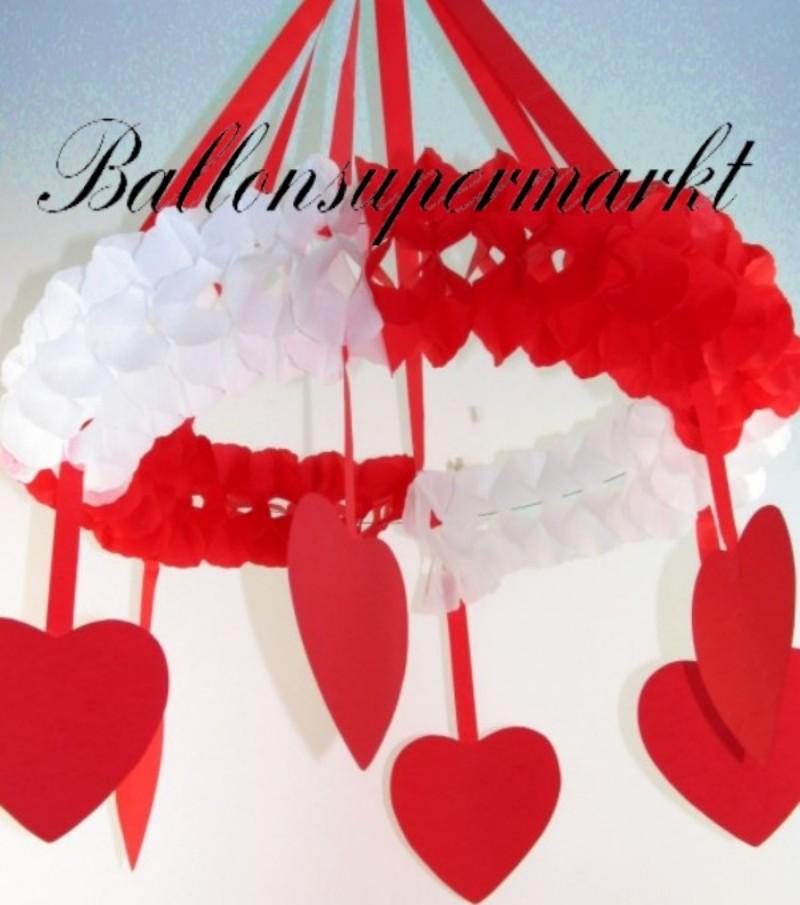 Hochzeitskranz, rot-weiß, Hochzeitdekoration, rot-weißer Kranz