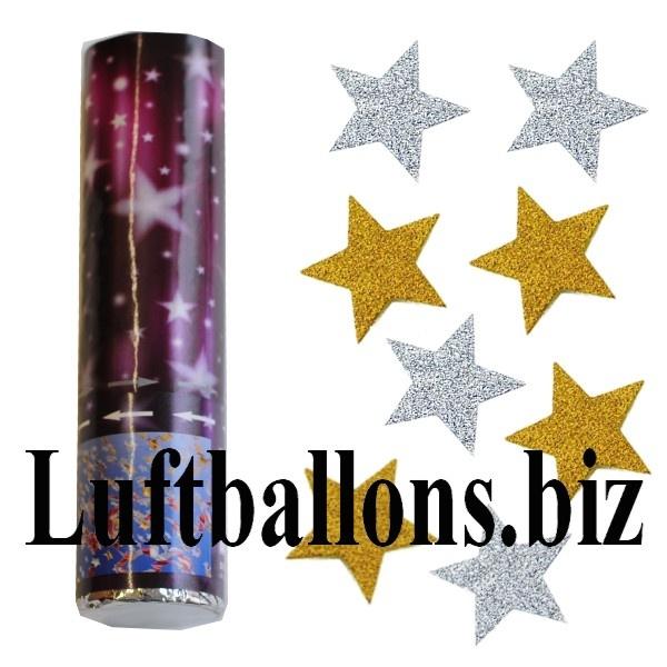 Konfetti-Kanone, Sternenregen in glitzernden Gold- und Silberfarben