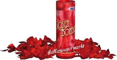 Rosenbombe, Kanone mit Rosenblättern