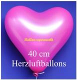 Pinkfarbene Herzluftballons, 40 cm, 100 Stück