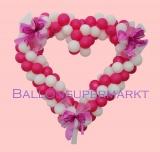 Herzliche Ballondekoration zur Hochzeit, Herz aus Luftballons mit Hochzeitsschleifen