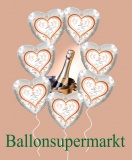 7 Hochzeits-Luftballons Silberne Hochzeit mit Helium