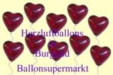 Herzluftballons, Herzballone, Luftballons in Herzform, 50 Stück, Burgund, 30-33 cm