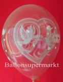 Luftballons zur Hochzeit, Latexballone mit Tauben, Ringen und Herzen, 10 Stück
