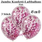 Konfetti-Luftballons, Jumbo, 45 cm, Pink, 3 Stück