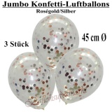 Konfetti-Luftballons, Jumbo, 45 cm, Silber/Rosegold, 3 Stück