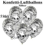 Konfetti-Luftballons, 30 cm, Silber, 5 Stück