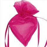Gastgeschenkeutel zur Hochzeitsdekoration, Organza-Herzen, Fuchsia