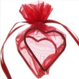 Gastgeschenkeutel zur Hochzeitsdekoration, Organza-Herzen, Rot
