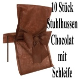 Stuhlhussen, Chocolat mit Schleife zur Hochzeitsdekoration