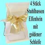 Stuhlhussen, Elfenbein mit goldener Schleife zur Hochzeitsdekoration