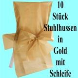 Satin-Stuhlhussen, Gold mit Schleife zur Hochzeitsdekoration