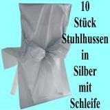 Satin-Stuhlhussen, Silber mit Schleife zur Hochzeitsdekoration