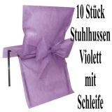 Stuhlhussen, Violett mit Schleife zur Hochzeitsdekoration