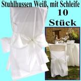 Satin-Stuhlhussen, Weiß mit Schleife zur Hochzeitsdekoration