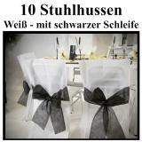 Stuhlhussen, Weiß mit schwarzer Schleife zur Hochzeitsdekoration
