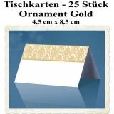 Hochzeitsdekoration Tischkarten, goldene Ornamente zur Hochzeit