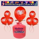 Luftballons Helium Einweg Set, Hochzeit, Just Married Luftballons, Rot, Textfeld und Stift, 30 Stück