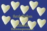 Herzluftballons, Herzballone, Luftballons in Herzform, 50 Stück, Elfenbein, 30-33 cm
