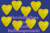 Herzluftballons, Herzballone, Luftballons in Herzform, 100 Stück, Gelb, 30-33 cm