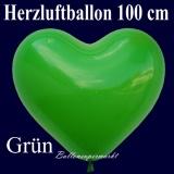 Herzluftballon, Luftballon in Herzform, 1 Stück, Grün, 100 cm