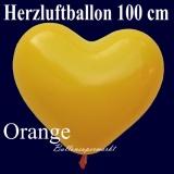 Herzluftballon, Luftballon in Herzform, 1 Stück, Orange, 100 cm