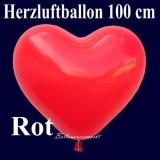 Herzluftballon, Luftballon in Herzform, 1 Stück, Rot, 100 cm