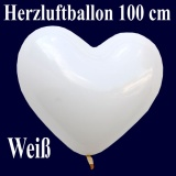Herzluftballon, Luftballon in Herzform, 1 Stück, Weiß, 100 cm