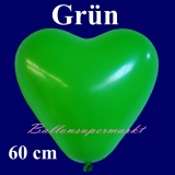 Herzluftballon, Luftballon in Herzform, 1 Stück, Grün, 60 cm