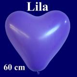 Herzluftballon, Luftballon in Herzform, 1 Stück, Lila, 60 cm