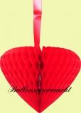 Hochzeit-Deko-Hänger, Großes Wabenherz, Hochzeitsherz in Rot
