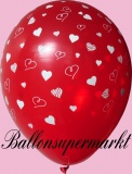 Luftballons Hochzeit, Latexballons in Rot, weiße Herzen, 10 Stück