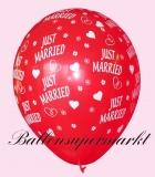 Luftballons Hochzeit, Latexballons in Rot, Just Married, 10 Stück
