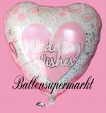 Hochzeits-Luftballon mit Helium, Wedding Wishes, Rosa, Hochzeitsglückwünsche und Hochzeitsgeschenk