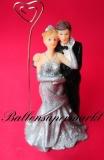 Hochzeitdeko, Tischdekoration zur Silberhochzeit, Hochzeitspaar Silberne Hochzeit, klein