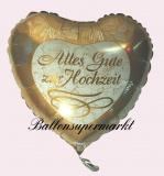 Hochzeits-Luftballon mit Helium, Alles Gute zur Hochzeit, Gold, Hochzeitsglückwünsche und Hochzeitsgeschenk