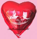 Hochzeits-Luftballon mit Helium, Alles Gute zur Hochzeit, Rot, Hochzeitsglückwünsche und Hochzeitsgeschenk
