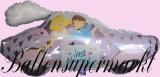 Hochzeits-Luftballon mit Helium, Hochzeitspaar im Auto, Hochzeitsglückwünsche und Hochzeitsgeschenk