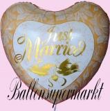 Hochzeits-Luftballon mit Helium, Just Married, Jumbo, Gold, Hochzeitsglückwünsche und Hochzeitsgeschenk