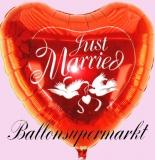 Hochzeits-Luftballon mit Helium, Just Married, Jumbo, Rot, Hochzeitsglückwünsche und Hochzeitsgeschenk