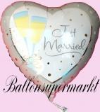 Hochzeits-Luftballon mit Helium, Just Married, Jumbo, Sekt, Hochzeitsglückwünsche und Hochzeitsgeschenk