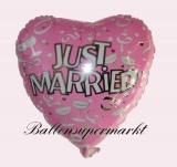 Hochzeits-Luftballon mit Helium, Just Married, Champagner, Rosa, Hochzeitsglückwünsche und Hochzeitsgeschenk